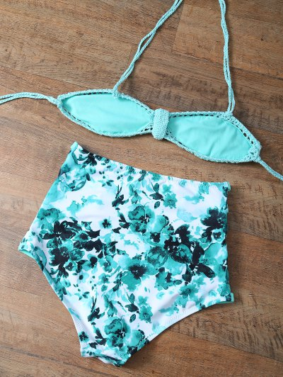 High Rise Knitted Stringy Bikini - BLUE AND GREEN XL Mobile