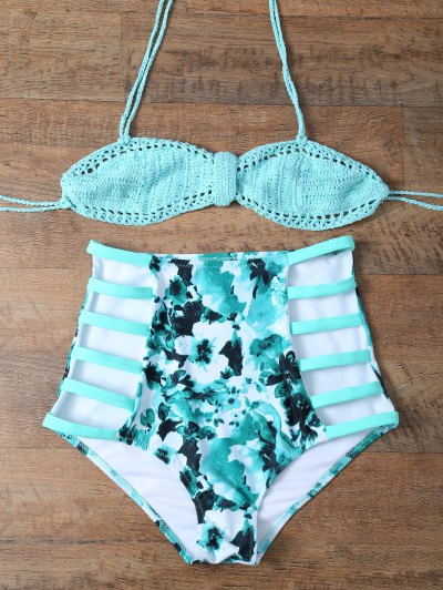High Rise Knitted Stringy Bikini - BLUE AND GREEN M Mobile