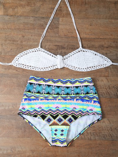 High Rise Printed Halter Bikini Set - MULTICOLOR XL Mobile