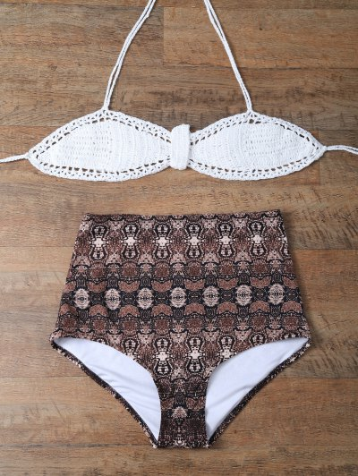 High Waisted Printed Knitted Halter Bikini - COFFEE + WHITE L Mobile