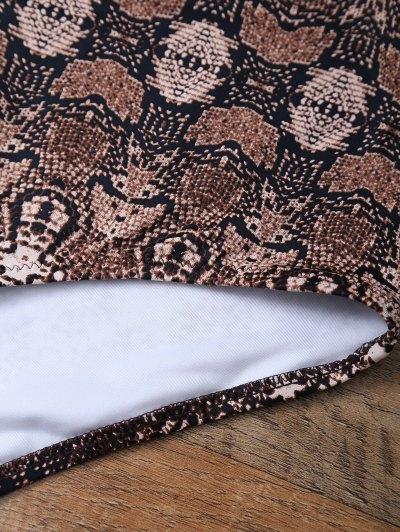High Waisted Printed Knitted Halter Bikini - COFFEE + WHITE M Mobile