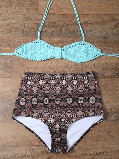 High Waisted Printed Knitted Multiway Bikini - COFFEE AND GREEN M Mobile