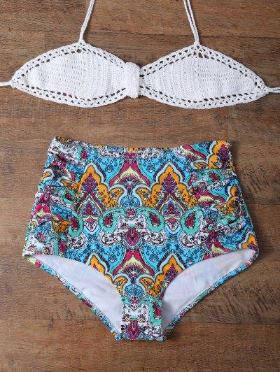 High Waisted Printed Multiway Bikini - MULTICOLOR 2XL Mobile