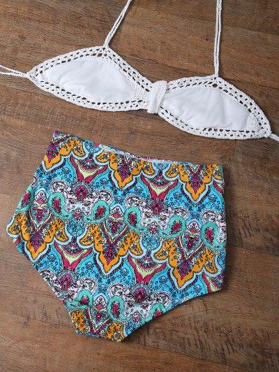 High Waisted Printed Multiway Bikini - MULTICOLOR M Mobile
