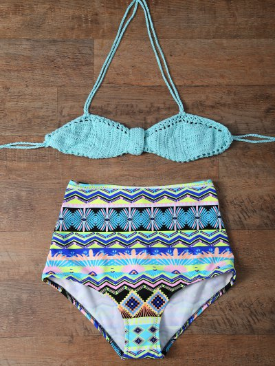 Knitted Multiway High Rise Bikini - TURQUOISE 2XL Mobile