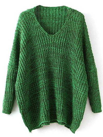 Space Dye Oversized Batwing Sweater - GREEN ONE SIZE Mobile