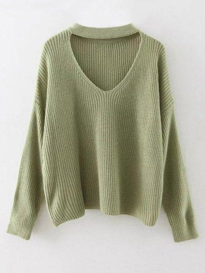 Cutout V Neck Choker Sweater - GRASS GREEN ONE SIZE Mobile
