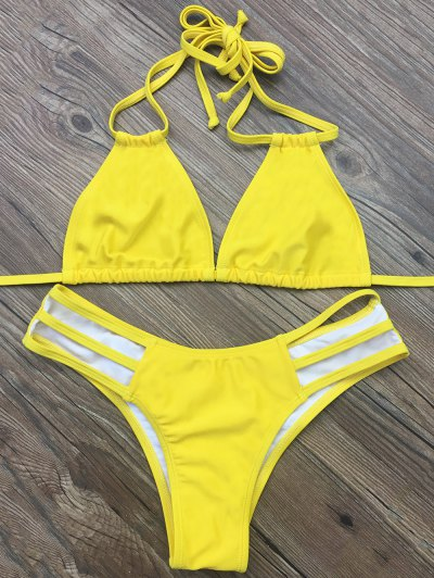 Side Strap Plunge Bikini - YELLOW L Mobile