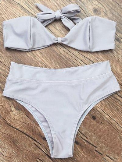 Bandeau Bikini Set - GRAY M Mobile