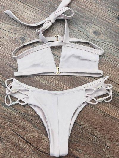 Strappy Cut Out Halter Bikini - APRICOT M Mobile