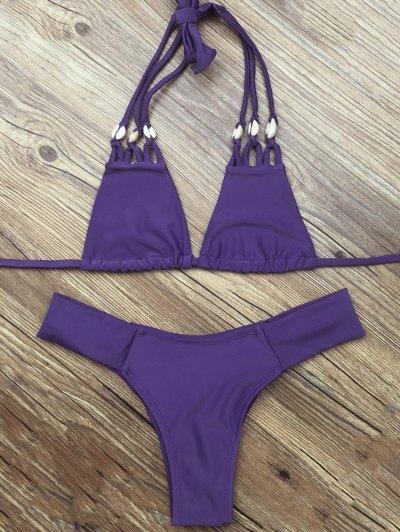 Strappy Halter Neck Plunge Bikini - DEEP PURPLE XL Mobile