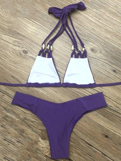 Strappy Halter Neck Plunge Bikini - DEEP PURPLE L Mobile