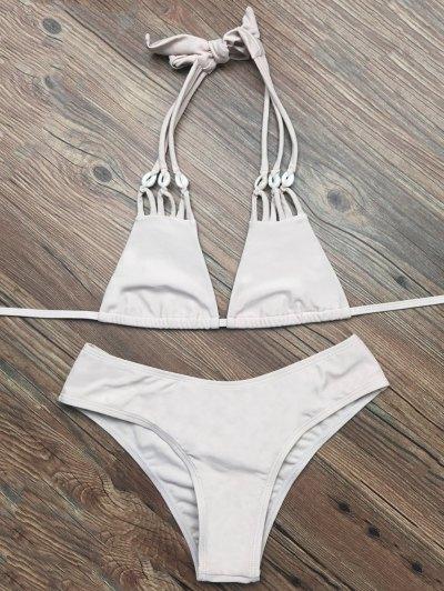 Halter Strappy Plunge Bikini - APRICOT M Mobile