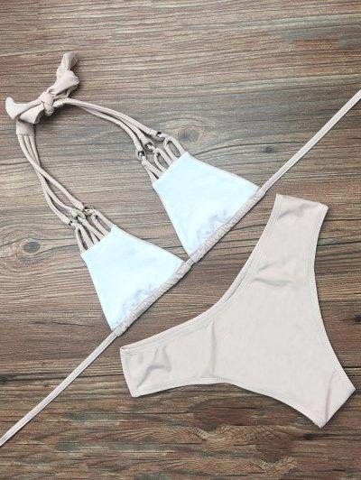 Halter Strappy Plunge Bikini - APRICOT S Mobile
