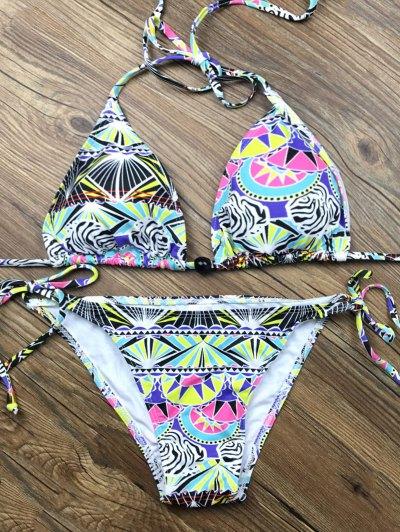 Tie Side Printed Plunge Bikini - MULTICOLOR S Mobile