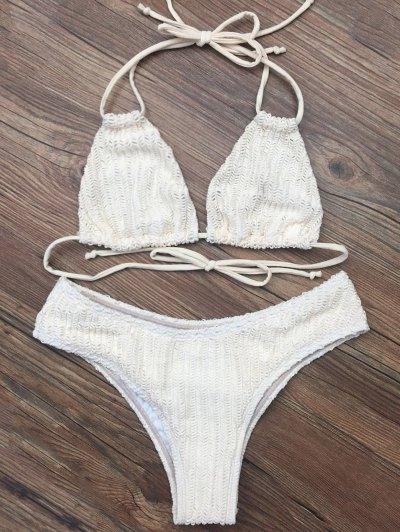 Self Tie Plunge Bikini - CRYSTAL CREAM XL Mobile