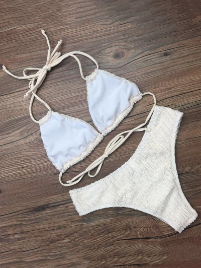 Self Tie Plunge Bikini - CRYSTAL CREAM M Mobile