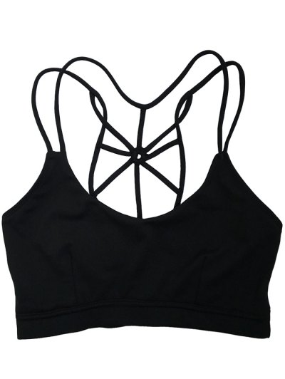 Spaghetti Strap Criss Cross Padded Sport Bra - BLACK XL Mobile