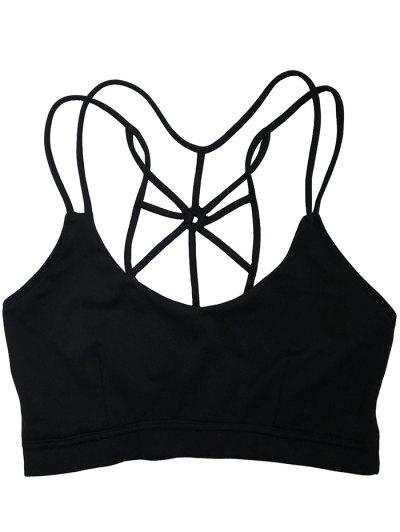 Spaghetti Strap Criss Cross Padded Sport Bra - BLACK L Mobile