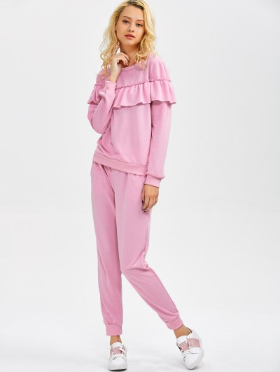 Flounced Sweatshirt and Pockets Design Pants - PINK L Mobile