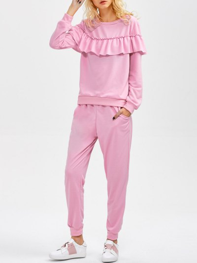 Flounced Sweatshirt and Pockets Design Pants - PINK L Mobile