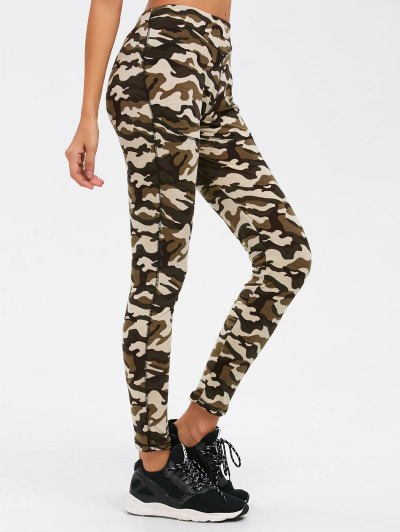 Camouflage Print Exercise Pants - ARMY GREEN CAMOUFLAGE XL Mobile