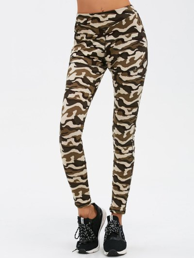 Camouflage Print Exercise Pants - ARMY GREEN CAMOUFLAGE L Mobile