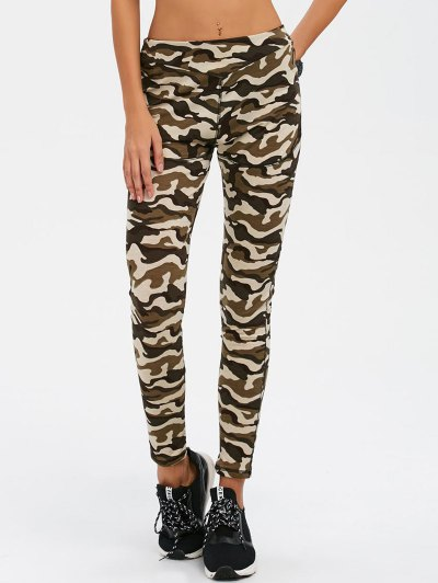 Camouflage Print Exercise Pants - ARMY GREEN CAMOUFLAGE S Mobile
