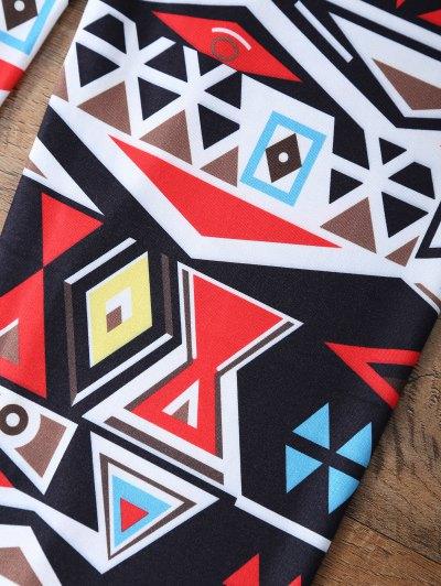 Geometric Printed Leggings - COLORMIX M Mobile