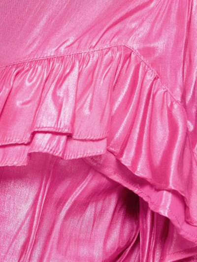 Stand Neck Ruffles Blouse - PINK XL Mobile