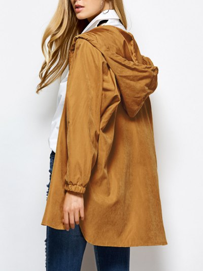 Hooded Zippered Coat - CAMEL XL Mobile