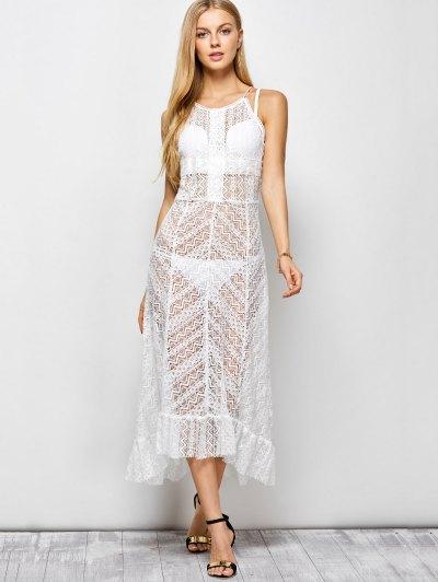 Ruffles See Through Maxi Cami Dress - WHITE 2XL Mobile