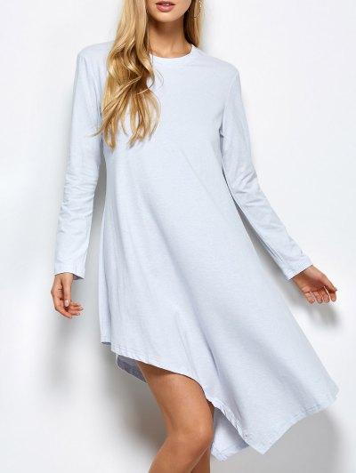 Asymmetric Full Sleeve Dress - LIGHT GREY XL Mobile