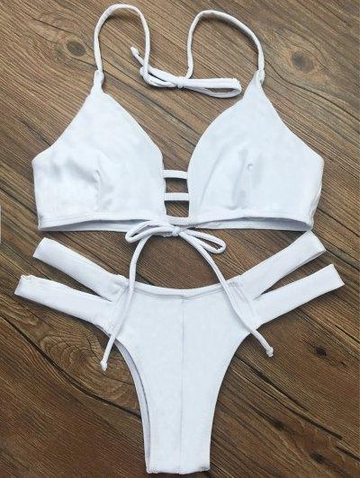 String Halter Unlined Bikini Set - WHITE S Mobile