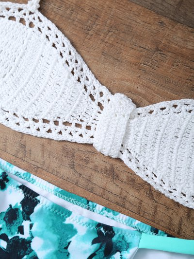 High Rise Knitted Halter Bikini - WHITE AND GREEN M Mobile