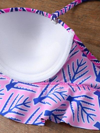 Printed High Rise Balcony Bikini - PINK M Mobile