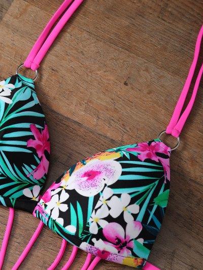 Floral Print Cutout One Piece Swimsuit - FLORAL L Mobile