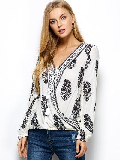 Retro Print Long Sleeve Wrap Blouse - WHITE XL Mobile