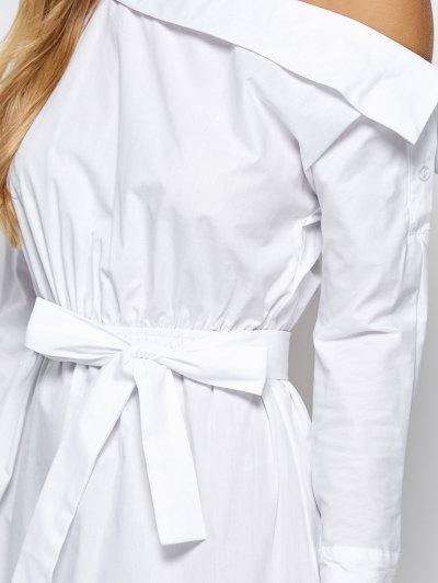 Belted One Shoulder Dress - WHITE L Mobile