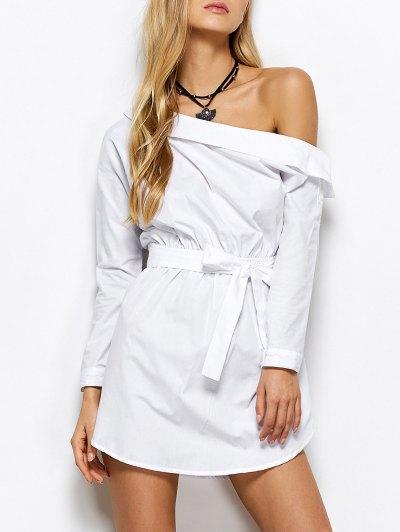 Belted One Shoulder Dress - WHITE S Mobile