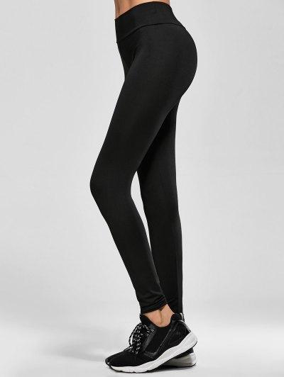 Skinny Elastic Waist Leggings - BLACK ONE SIZE Mobile