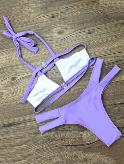 Side Strap Cut Out Halter Bikini - PURPLE M Mobile
