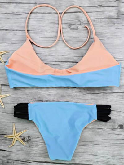 Strappy Color Block Bikini Set - BLUE L Mobile