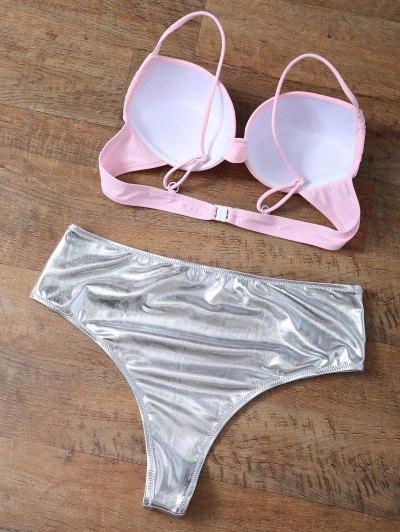 Underwire Bikini Top and Metallic Bottoms - PINK + SILVER XS Mobile