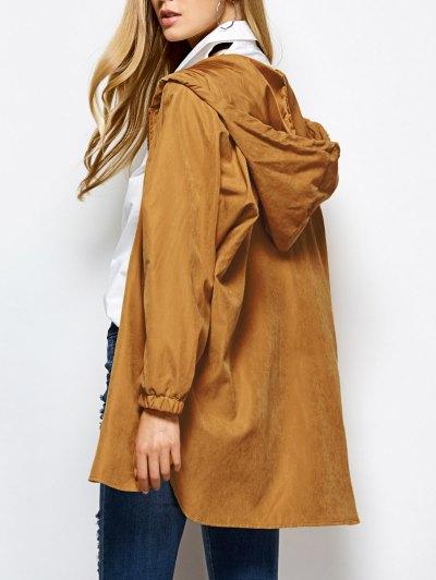 Hooded Zippered Coat - Camel