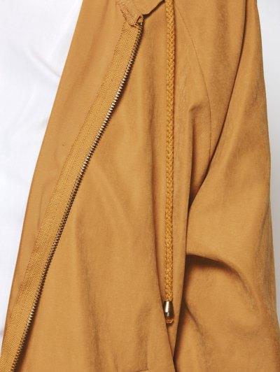 Hooded Zippered Coat - CAMEL S Mobile