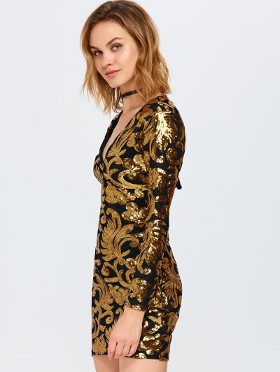V Neck Sequins Bodycon Mini Dress - GOLDEN XL Mobile