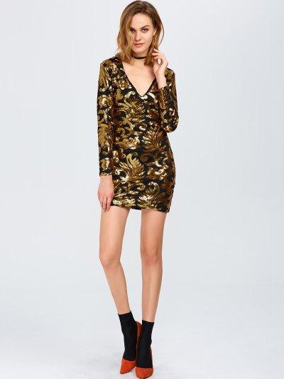 V Neck Sequins Bodycon Mini Dress - GOLDEN L Mobile