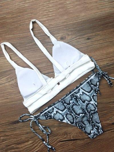 Cami String Abstract Bikini Set - WHITE M Mobile