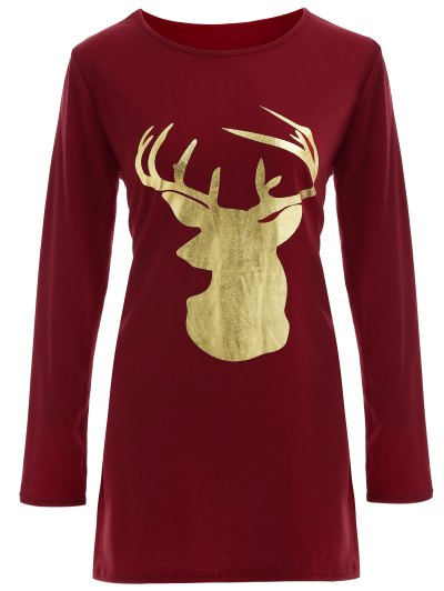 Reindeer Christmas Tee Dress - BURGUNDY XL Mobile